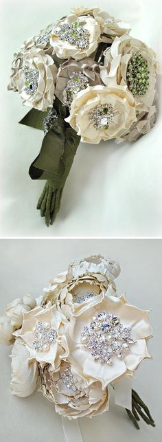 silk fabric bridal bouquet