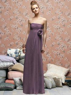 (NO.018816 )Sheath / Column Strapless Hand-Made Flower Sleeveless Floor-length Chiffon Lilac Bridesmaid Dress / Prom Dress / Evening Dress