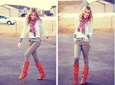 gray skinny jeans and brown boots