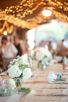 Barn Wedding Table Flowers