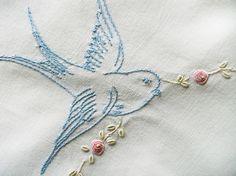 Vintage bluebird embroidery