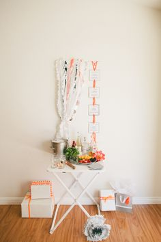 DIY Gin and Tonic Bar with plastic tablecloth ruffles and macrame recipe card holder.  #LetsCelebrate