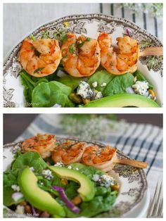 Grilled Spicy Cilantro Shrimp and Spinach Salad from A Healthy Life for Me on Epicurious Community Table