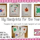 This is a template to create your own handprint art on.  Use the monthly themed sheets to create a portfolio for the whole year.  Each month, you c... handprint art