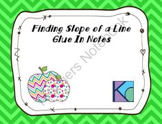 Finding Slope Glue In Notes from Coats Math Closet on TeachersNotebook.com -  (3 pages)  - Glue in notes over how to find slope and the difference between parallel and perpendicular lines given slope.
