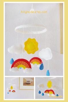 Baby Mobile  Rainbow Sun Cloud Raindrops Red Orange by hingmade, $62.00