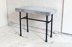 HomeMade Modern DIY EP40 Concrete + Iron Bar Table Options