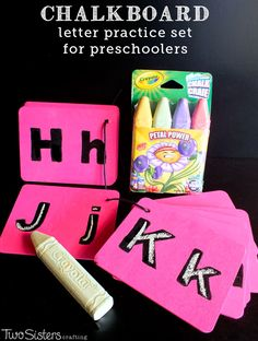 Chalkboard Letter Practice Set for Preschoolers - a great DIY project that helps kids practice letter writing. #CrayolaChalk