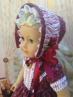 American Girl Historical 1850 Burgundy Dress by CrabapplesBoutique, $75.00