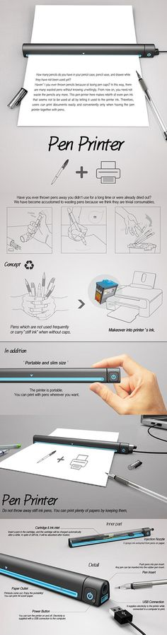 Pen Printer. The #device uses the ink from discarded pens to print on paper.  #ideas #inventions #design #innovation #tech #gadgets #techie #solutions #innovative #ingenious #technology