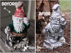 Gnome Michaels RE-love Challenge recycle by Sugar_Bee_Crafts Outdoor Ideas, Garden Gnomes, Gardens Gnomes, Gnomes Re Lov, Crafts Stuff, Gardens Design, Gnomes Reloved, Sugar Bees, Bees Crafts