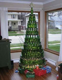 Beer bottle christmas tree.  Not for homes with kids, dogs, cats or anyone with allergies.