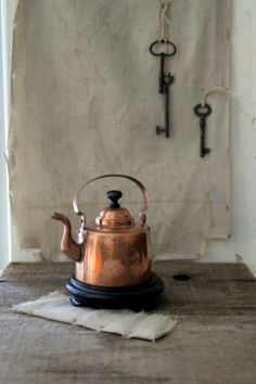 s m a l l  copper tea kettle