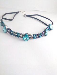 Blue statement necklace Blue wedding Victorian by reneeoriginals1, $15.00