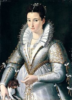 A portrait of a lady wearing a white and gold embroidered dress standing together with her dog by Santi di Tito - 1580s
