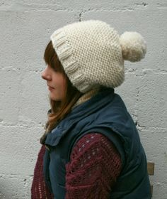 Free knitting pattern for super chunky bulky knitted bobble hat using Rowan Big Wool {forty percent fringe : sixty percent face: the super chunky bobble hat pattern}