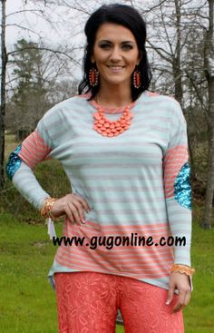 FLASH SALE Something About Sequins Coral and Mint Striped Shirt with Sequin Elbow Patches $18.00 www.gugonline.com