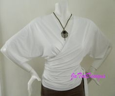 Womens Top Kimono Style Wrap Top Maternity Nursing Top White Soft Comfortable  Versatile Jersey Ruched Nursing top