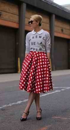 midi skirts, gingham, sweater, full skirts, atlantic pacific, graphic, polka dots, red, peter pan collars