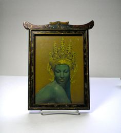 Vintage Asian Inspired Wood and Painted Frame with by borahstyle, $30.00