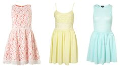Spring 2012 Trends: Pinks and pastels. Left to Right (Topshop): Sleeveless lace dress, Lace strappy dress, Cutout back self stripe flippy dress