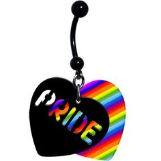 Rainbow #Pride Heart Belly Ring #equality #love $7.99