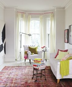 curtains, living rooms, color, curtain rods, white walls, bay windows, window treatments, sweet home, white furniture