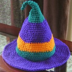 Make your witch costume this Halloween so much more fun when you work up this colorful and whimsical witch hat! | AllFreeCrochet.com