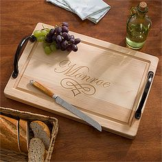 "Maple Leaf Personalized 18"" Cutting Board-Handles"