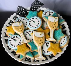 holiday, new years party, year cooki, food, dessert party, new years eve, cookies, year eve, parti