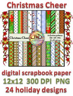 On sale for $3.75 for a limited time. There are 24 patterns total, in a variety of holiday colors and patters. Some have shiny, glitter accents. Great for TPT sellers or other commercial use. Also, great for personal scrabooking use, and classroom projects. This is the 12x12 inch set. I also have a 8.5x11 inch set available in my store here:  http://www.teacherspayteachers.com/Product/Christmas-Cheer-Digital-Scrapbook-Papers-TPT-sellers-commercial-use-981368