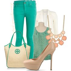 """""""Pastel Emerald & Peach"""" by sharon-grisnich on Polyvore"""