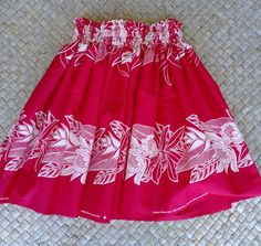 Tomato red and cream hula pa'u hula skirt hula by SewMeHawaii