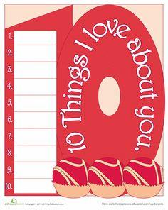 Worksheets: List Poem: A 10 Things Valentine