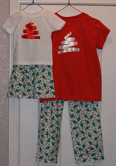 Christmas pajamas - my friend and I made the pants/shorts and I appliqued the ribbon into Christmas trees