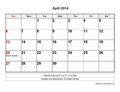 Printable Calendar 2014 April Templates