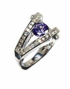 2013 JCK Jewelers' Choice Award Winner Tanzanite Jewelry Under $10,000: Frank Reubel Designs 14k white gold ring with 1 ct. tanzanite and 0.62 ct. t.w. diamonds; $4,975 #FrankReubelDesigns #JCK #tanzanite #whitegold #tanzanite #diamonds