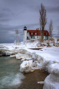 Icy Point Betsie Lighthouse at Point Betsie near Frankfort, Michigan.