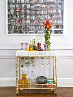 Bar Cart. See how style one like a pro-designer: http://www.hgtv.com/entertaining/how-to-style-a-bar-cart/pictures/index.html?soc=pinterest