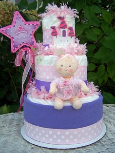 NewLil' Princess Themed Diaper Cake by AllDiaperCakes on Etsy