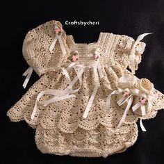 Crafts by Cheri Crochet Newborn Baby or Reborn Doll Dress, Panties, Booties, and Bonnet set