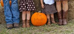 Fall family photos. Love the idea of a pumpkin with The McVays on it!