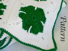 Shamrock afghan crochet PDF Pattern St. Patrick's Day holiday granny square throw March home decor coverlet winter spring by lovinghandscrochet for $7.00