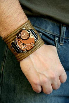 "Men's Wrist watch leather bracelet ""Hunter-Fisher"" - SALE - Worldwide Shipping - Steampunk watch. $160.00, via Etsy."