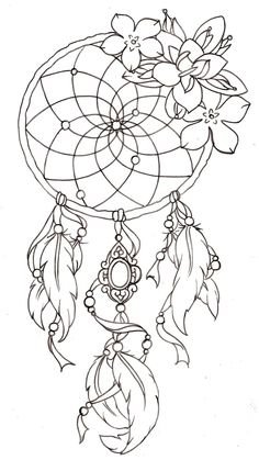 so far this is the best looking dream catcher idea... if i do get a dream catcher tattoo then it would look very similar to this ... !