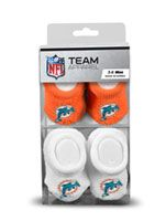 Miami Dolphins Newborn 3-6 Months Orange and White NFL Booties 2 Pack