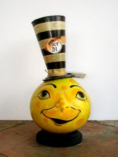 Mayor McMoonbeam - crafted from a cannonball gourd and handpainted in ohio by artist, Carolyn Lockwood