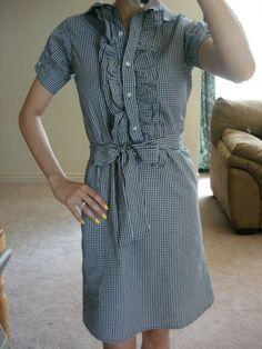 sewing machines, dress shirts, dress tutorials, diy shirt, anthropologi diy, men shirts, diy ruffl, dress up, shirt dress