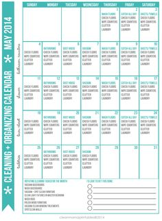 Want to simplify your cleaning and organizing?  Try this FREE Cleaning + Organizing Calendar for May 2014 via Clean Mama