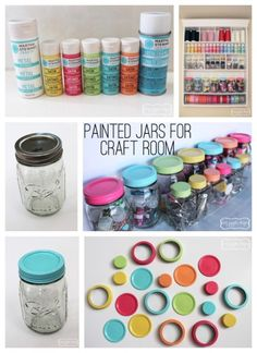 Colourful jar tops . If they have a shiny surface just rub down a tad with a low grade sand paper  and paint! If you want to go the extra mile with colouring your jars , fill them with a small amount of paint and swirl it round until the inside is covered evenly , use a smooth fetcher like brush to finish any lil spots. :)